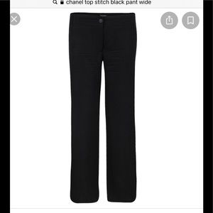 CHANEL wool wide leg trousers pant with top stitch